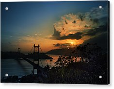 Acrylic Print featuring the photograph Sunset At Tsing Ma Bridge by Afrison Ma