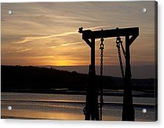 Sunset Barge  Acrylic Print by Eugene Bergeron