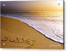 Sunset Beach Acrylic Print by Carlos Caetano