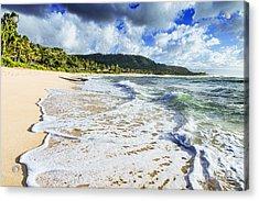 Acrylic Print featuring the photograph Sunset Beach Foamy Shoreline by Aloha Art