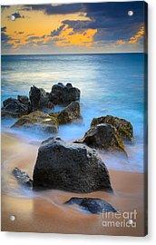 Sunset Beach Rocks Acrylic Print