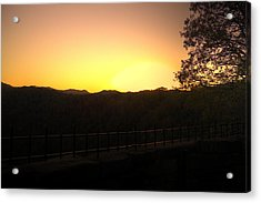 Acrylic Print featuring the photograph Sunset Behind Hills by Jonny D