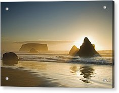 Sunset Behind Offshore Rocks Bandon Acrylic Print by Philippe Widling
