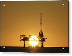 Acrylic Print featuring the photograph Sunset Behind Oil Rig by Bradford Martin