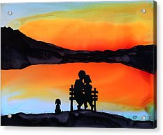 Sunset Bench Acrylic Print