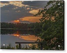 Sunset Bench Lake Horicon Nj Acrylic Print