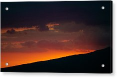 Acrylic Print featuring the photograph Sunset Beyond The Waianae Mountain Range by Lehua Pekelo-Stearns