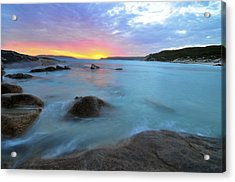 Sunset Blue Acrylic Print by Sally Nevin