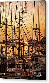 Sunset Boat Masts At Dock Morro Bay Marina Fine Art Photography Print Sale Acrylic Print by Jerry Cowart