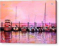 Sunset Boats Acrylic Print by Laura Fasulo