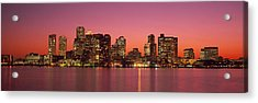 Sunset Boston Ma Acrylic Print by Panoramic Images