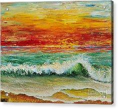 Acrylic Print featuring the painting Sunset Breeze by Teresa Wegrzyn