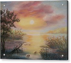 Acrylic Print featuring the painting Sunset By The Lake by Katalin Luczay