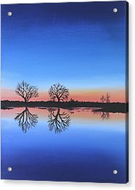 Acrylic Print featuring the painting Sunset By The River Thames by Elizabeth Lock