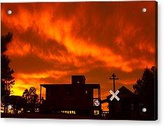 Sunset Caboose Acrylic Print