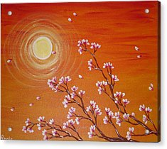 Sunset Cherry Blossoms Acrylic Print by Angie Butler