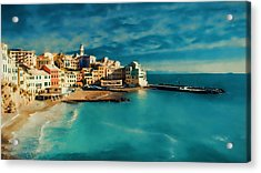 Acrylic Print featuring the painting Sunset Cinque Terre by Douglas MooreZart