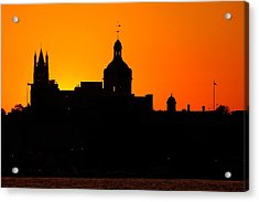 Sunset City Semi-silhouette Acrylic Print by Paul Wash