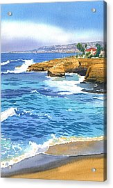 Sunset Cliffs Point Loma Acrylic Print by Mary Helmreich