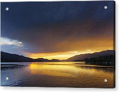 Sunset Clouds Over Whitefish Lake Acrylic Print by Chuck Haney