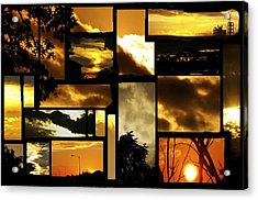 Sunset Collage Acrylic Print by Cherie Haines