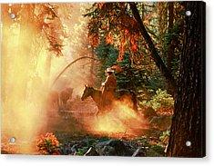 Sunset Cowboy Acrylic Print by Diane Bohna