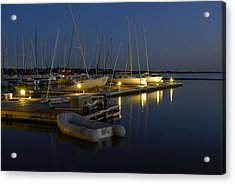 Sunset Dock Acrylic Print by Charles Beeler