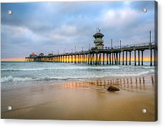 Sunset Drifting Under The Pier Acrylic Print