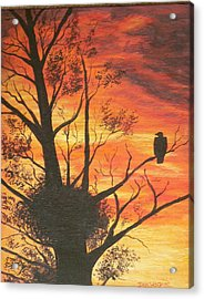 Acrylic Print featuring the painting Sunset Eagle by Dan Wagner