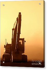 Acrylic Print featuring the photograph Sunset Excavator by Olivier Le Queinec