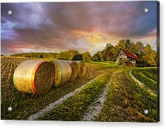 Sunset Farm Acrylic Print by Debra and Dave Vanderlaan