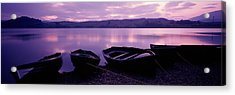 Sunset Fishing Boats Loch Awe Scotland Acrylic Print by Panoramic Images