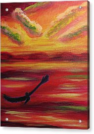 Acrylic Print featuring the painting Sunset Flight by Diana Riukas