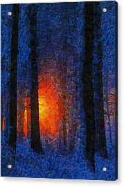 Sunset Forest Winter Acrylic Print