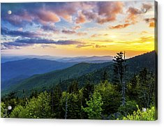 Sunset From Clingmans Dome Acrylic Print