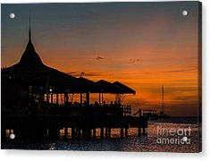 Sunset From Pelican Pier Acrylic Print by Judy Wolinsky