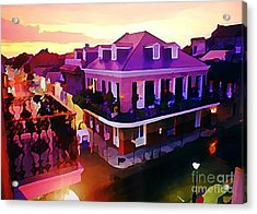 Sunset From The Balcony In The French Quarter Of New Orleans Acrylic Print by John Malone