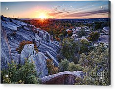 Sunset From The Top Of Little Rock At Enchanted Rock State Park - Fredericksburg Texas Hill Country Acrylic Print