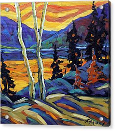 Sunset Geo Landscape Original Oil Painting By Prankearts Acrylic Print by Richard T Pranke