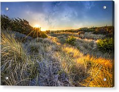 Sunset Glow On The Dunes Acrylic Print by Debra and Dave Vanderlaan