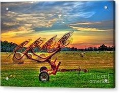 Sunset Hayrake Resting Acrylic Print by Reid Callaway