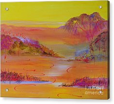 Acrylic Print featuring the painting Sunset Hills by Lyn Olsen