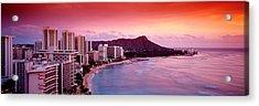 Sunset Honolulu Oahu Hi Usa Acrylic Print by Panoramic Images