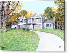 Acrylic Print featuring the painting Sunset House In Fall by Albert Puskaric