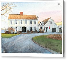 Sunset House Watercolor Portrait Acrylic Print by Mike Theuer