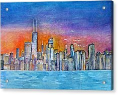 Sunset In Chi Town Acrylic Print