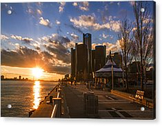 Sunset In Detroit  Acrylic Print