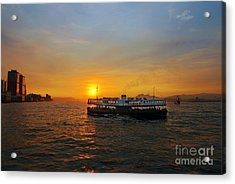 Sunset In Hong Kong With Star Ferry Acrylic Print by Lars Ruecker