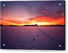 Sunset In Karlstad Sweden. Acrylic Print