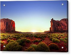 Sunset In Monument Valley Acrylic Print by Alexey Stiop